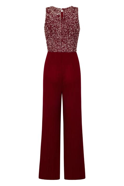 LACE & BEADS PICASSO EMBELLISHED BURGUNDY JUMPSUIT   LACE